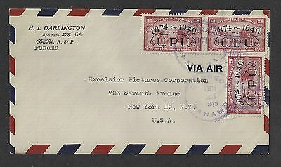 Panama 1949 Air Mail Cover Sc. 369 UPU Ovpt to New York