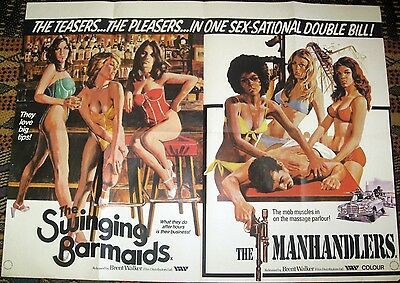 The Swinging Barmaids and The Manhandlers British Quad Movie Poster