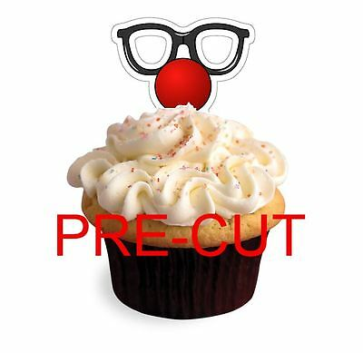RED NOSE DAY X24 edible stand up cup cake toppers wafer paper cut