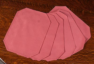 Set Of 6 Dusty Rose Rectangular Placemats