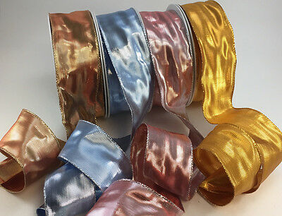 Wired luxury Glamour Christmas ribbon x 1m 4 colours & 3 widths. Gift wrap, bows