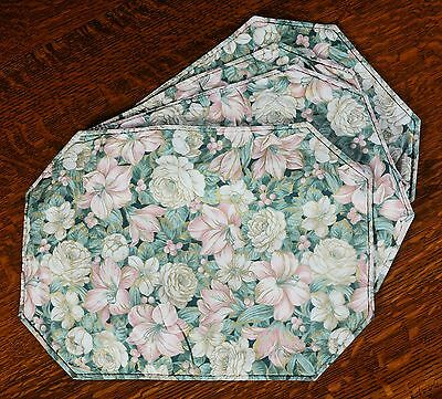Nice Set Of 4 Pink Blue Flowered Placemats Cad