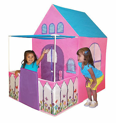 Kids Play Tent With Fenced Patio Princess Castle Party Girls Children Playhouse