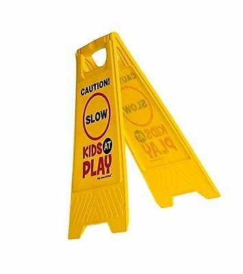 """Kids Playing Safety Sign (Double-Sided) - """"Caution Slow Kids at Play"""""""