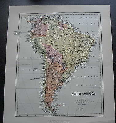 Antique Maps Paper South America  Pre 1914  100 Years Old Political Physical