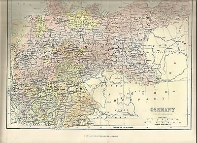 Antique Maps Paper Germany  Pre 1914  100 Years Old Political