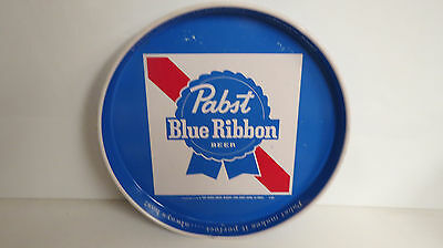 Pabst Blue Ribbon serving tray Blue background ribbon and white square