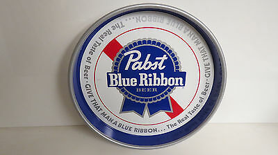 Pabst blue ribbon serving tray white background blue ribbon