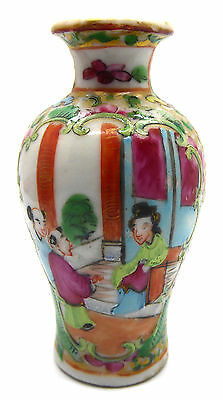 """Beautiful Vintage Miniature Japanese Vase Hand Painted In Vibrant Colours 3"""""""