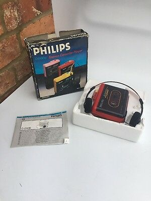 Boxed PHILIPS D-6606 Stéréo Cassette Player WALKMAN Red moving sound