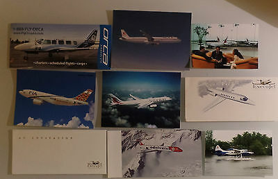 AIRLINE ISSUED PRESS PHOTOS / INVITATION GREETING CARDS : SET 9x MIX WORLDWIDE