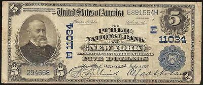 Large 1902 $5 The Public National Bank Note New York Currency Big Paper Money