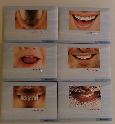 AIRLINE ISSUED POSTCARDS : SET 6x  AUSTRIAN smiling faces