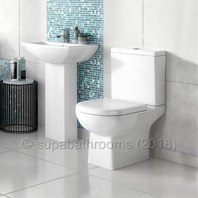 Asselby 4 Piece Bathroom Modern Suite Toilet WC Basin, Pedestal, Seat