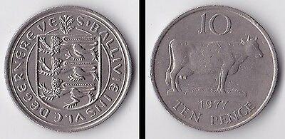 1977 Guernsey Large 10p piece. Minor wear.