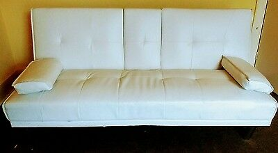 Leather Sofa Bed - White. Easy fold to double bed.