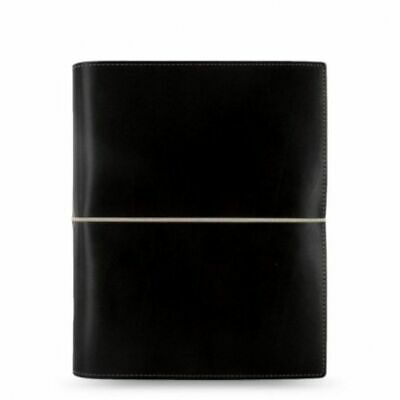 Filofax - A5 Domino Black - Smooth Grained Leather Look Organiser - FREE P&P
