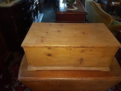 victorian antique pine blanket box with candle box