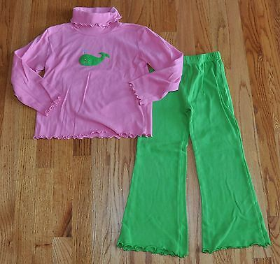 LUIGI Kids Winter Prep Pink & Green Whale Ruffled Tee & Pants Outfit Size 6X
