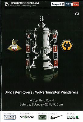 Doncaster Rovers v Wolverhampton Wanderers 8/1/2011 FA Cup match programme