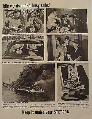 1943 Stetson Hats WWII Submarine Print Ad Stetson Eagle $7.50