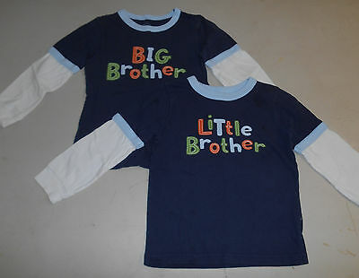 """Set of 2 - GYMBOREE """"Big Brother"""" and """"Little Brother"""" Shirts, Size 4T, Twins"""