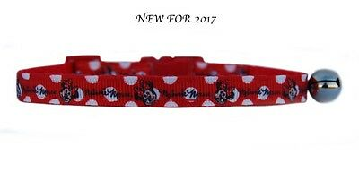 "RED & WHITE SPOTS  ""MINNIE MOUSE safety kitten cat collar 3 sizes"