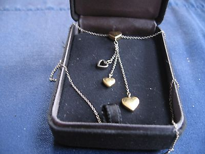 Limited Edition Tiffany & Co 18K Gold Multi Hearts Drop Chain Necklace
