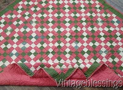 "Authentic c1880s Large Crib Pink Green QUILT 45"" x 44"""