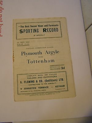 Plymouth Argyle res v Tottenham Hotspur reserves  Combination 50/1  programme