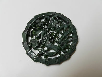 60.50 Carats~Beautiful Natural Deep Green Hand Carved Bird Jade Pendant