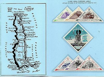 Lundy Is 1955 Millenary (Hores) Surace Mail  MNH set in blue folder