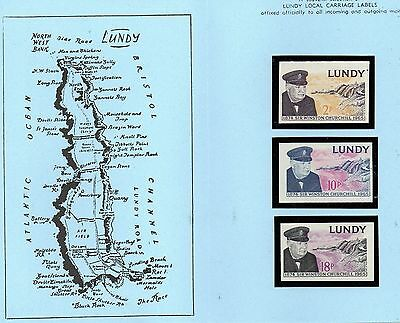 Lundy Is 1965 Churchill IMPERF MNH set in blue folder