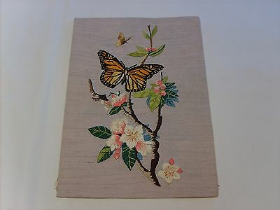Vintage Silk Embroidery Panel - Butterflies and Blossom.
