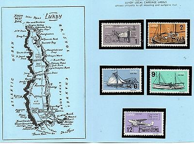 Lundy Is 1969 40th Anniversary of Lundy Posts MNH set in blue folder
