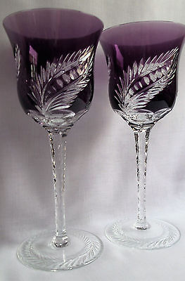 Pair New Faberge Plume Amethyst Lead Crystal Hocks / Goblets, Rare, Marked