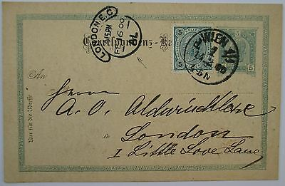Austria. London. Uprated postal stationery card sent from Vienna to London. 1900
