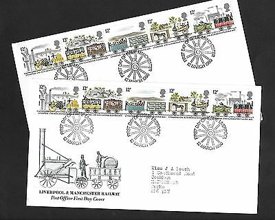 GB FDC 12/03/1980 Liverpool & Manchester Railway set of 2 with matching FDI SHS