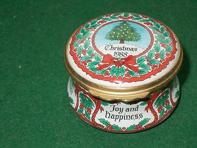 Very Collectable Vintage Halcyon Days Enamel Pill Box Christmas 1988