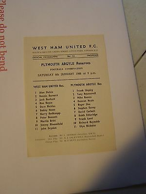 West Ham reserves v Plymouth Argyle res   Combination 65/6 programme