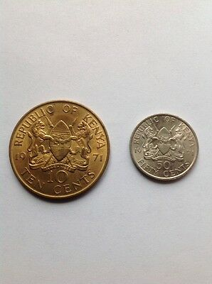2 Coins CIRCULATED 1971 10 CENTS KENYAN COIN And 50 Cent AFRICAN Coins Good Con.