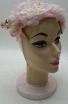 Vintage Couture headpiece headband Topper Hat Pink white Flower