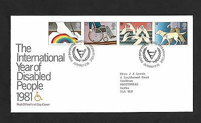 GB FDC 25/03/1981 International Year Disabled People with Windsor FDI SHS