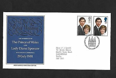 GB FDC 22/07/1981 The Royal Wedding with London EC FDI SHS