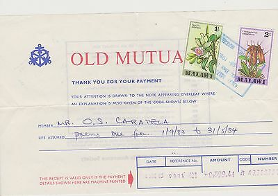 1983 Life Assurance Receipt bearing  a 1T and 2T Stamp