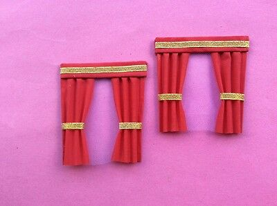 """2 Red dolls house curtains  3.5"""" X 4"""""""