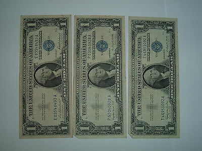 $1 Silver Certificates, Lot of 3, 1957, 1957A & 1957B, Well Circulated. Lot #3.