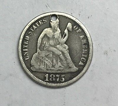 1875 Liberty Searted Dime 90% Silver Coin Back Engraved S&M Monogram