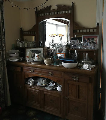 large gothic victorian carved wooden sideboard dresser bevelled mirrors antique