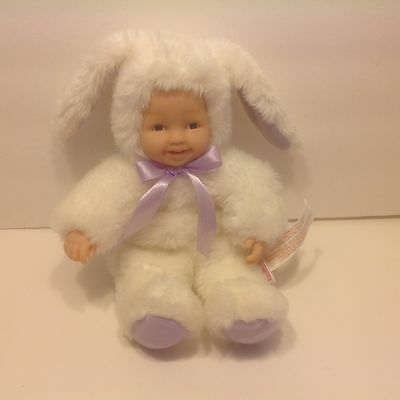 "Anne GEDDES  BUNNY Baby Face Kids Doll Plush Toy Beanie 9"" Easter"